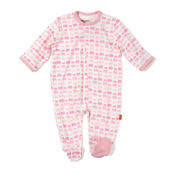 Magnificent Baby Infant Apparel 3-6M / Pink Magnificent Baby Pink Dancing Elephants Magnetic Footie
