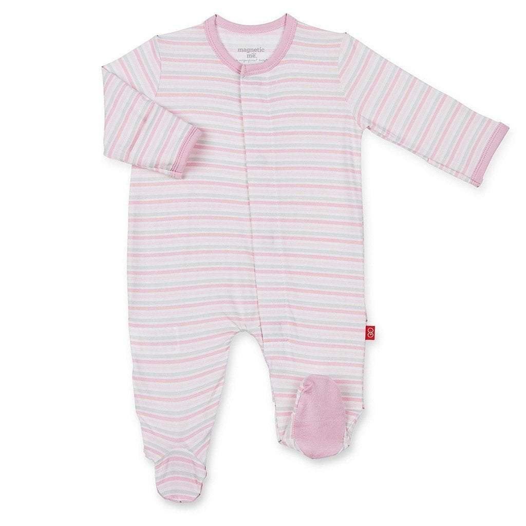 Magnificent Baby Infant Apparel 0-3M / PKStripe Magnificent Baby Pink Stripe Globetrotter Infant Footie