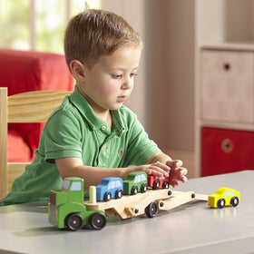 Melissa & Doug Car Carrier Wooden Vehicle Play Set-Toys-Babysupermarket