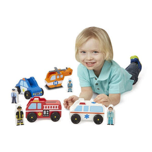 Melissa & Doug Emergency Wooden Vehicle Play Set-Toys-Babysupermarket
