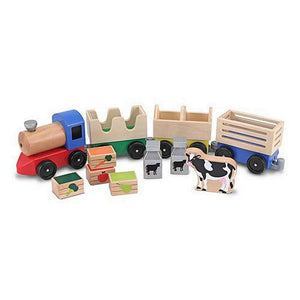 Melissa & Doug Farm Animal Wooden Train Set-Toys-Babysupermarket