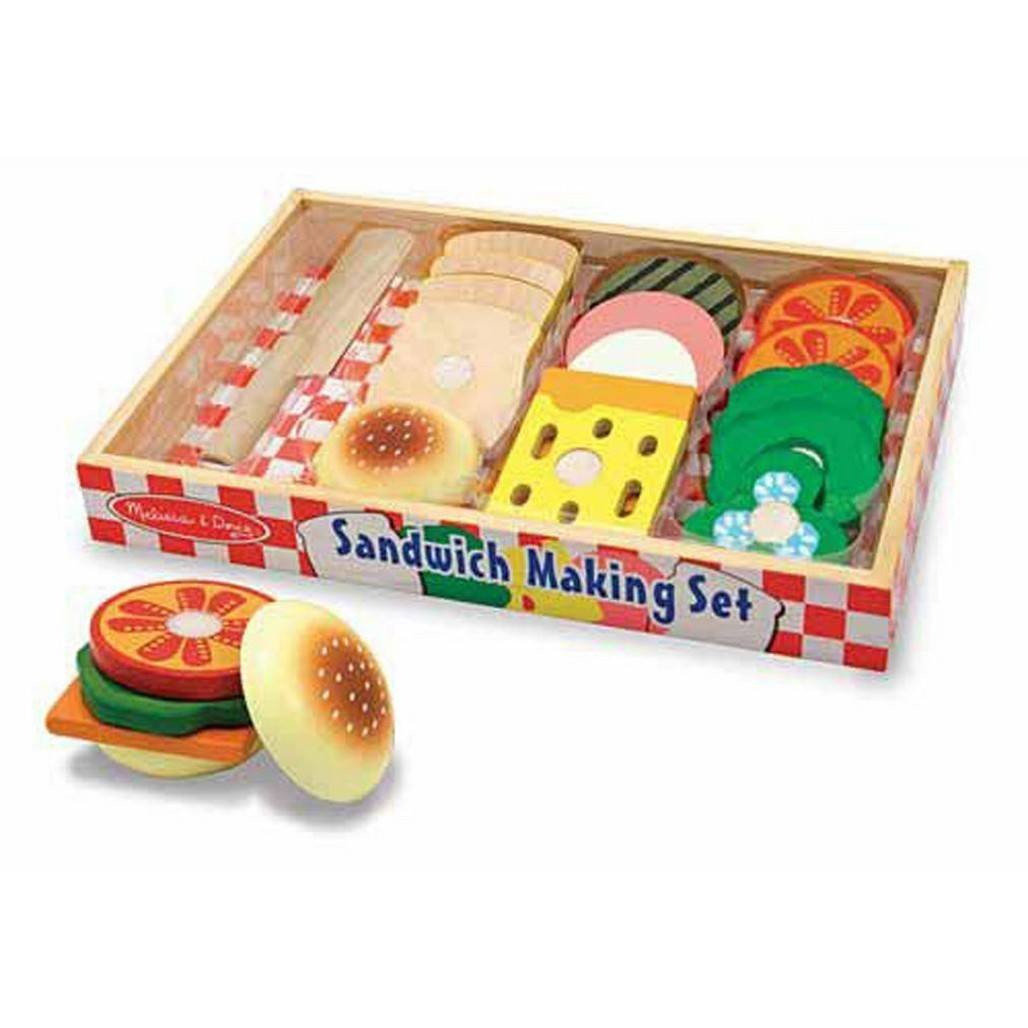Melissa & Doug Sandwich Wooden Play Food Making Set-Toys-Babysupermarket