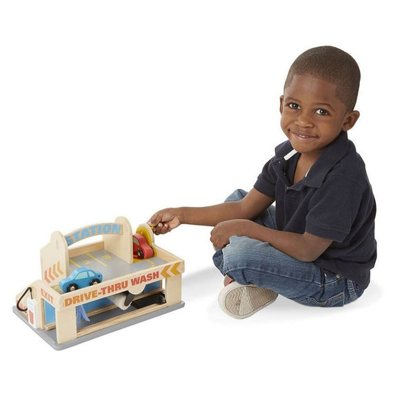 Melissa & Doug Service Station Parking Garage Wooden Vehicle Play Set-Toys-Babysupermarket