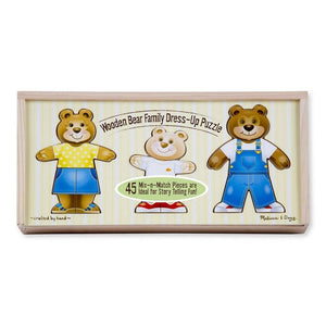 Melissa & Doug Wooden Bear Family Dress-Up Mini Puzzle-Toys-Babysupermarket