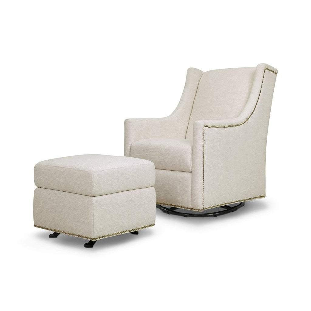 Franklin & Ben Furniture Million Dollar Baby Harper Swivel Glider with Gliding Ottoman White Linen