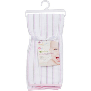 MiracleWare Muslin Infant Hooded Towel Pink with Gray Stripes-Baby Care-Babysupermarket