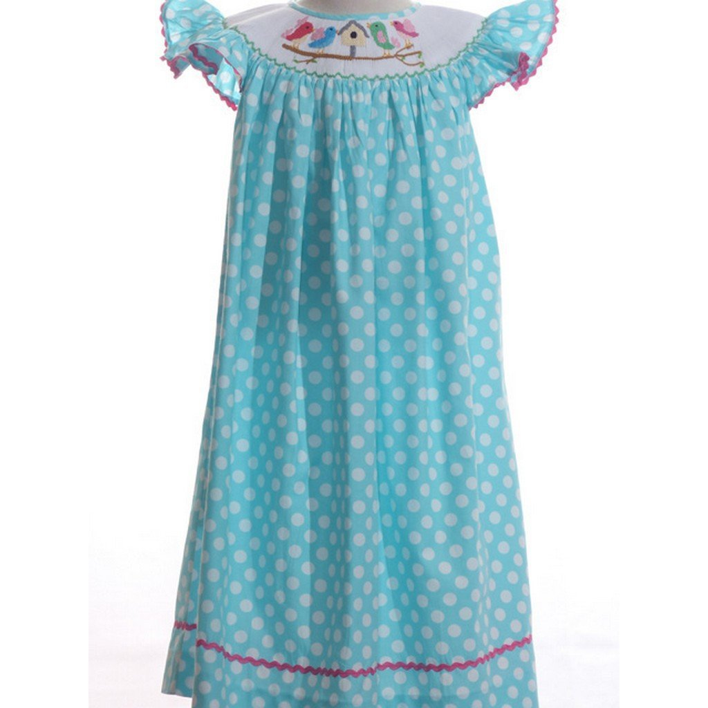 Mom n Me, Inc Girls Apparel 2T / Blue Mom and Me Girl Polka Dot Bird Dress