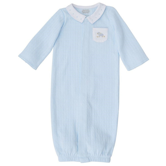 MUDPIE Gifts & Apparel 0-3 months / Blue MUD PIE Blue Pointelle Lamb Gown