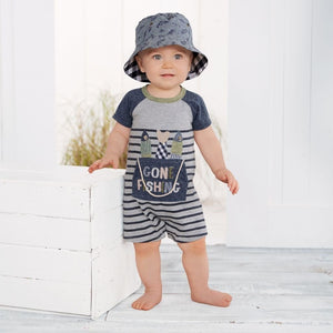 MUDPIE Gifts & Apparel 9-12 months / Gray MUD PIE Fishing Bucket Shortall