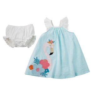 MUDPIE Gifts & Apparel 9-12 months / blue MUD PIE Flamingo Dress and Bloomer Set