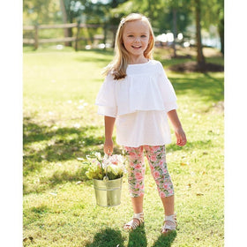 MUDPIE Gifts & Apparel 6-9 months / White MUD PIE Floral Tunic Leggings Set