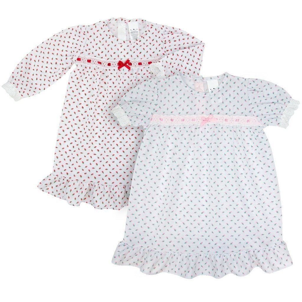 New ICM Girls Apparel 2T / Red New ICM Toddler or Girls Long Sleeve Red Rosebud Gown