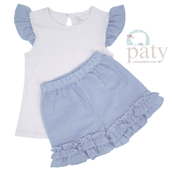 Paty Girls Apparel 2T / Blue Paty 2 Piece Girls Angel Sleeve Ruffle Set