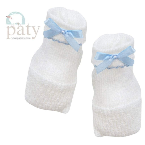 Paty Infant Apparel OS / Blue Paty Blue Baby Booties with Trim