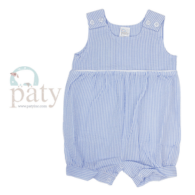 Paty Boys Apparel 9M / Blue Paty Boys Seersucker Bubble with Piping