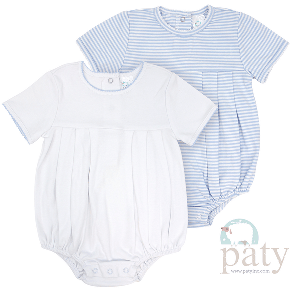 1c2991592663e Paty Boys White Onesie with Blue Picot Trim