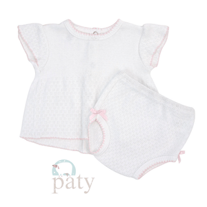 Paty 6 mos / Pink Paty Girl Diaper Set with Short Sleeve Top and Panty with Bow