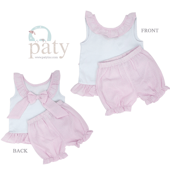 Paty 2T / Pink Paty Girls Seersucker Ruffle Set with Bow