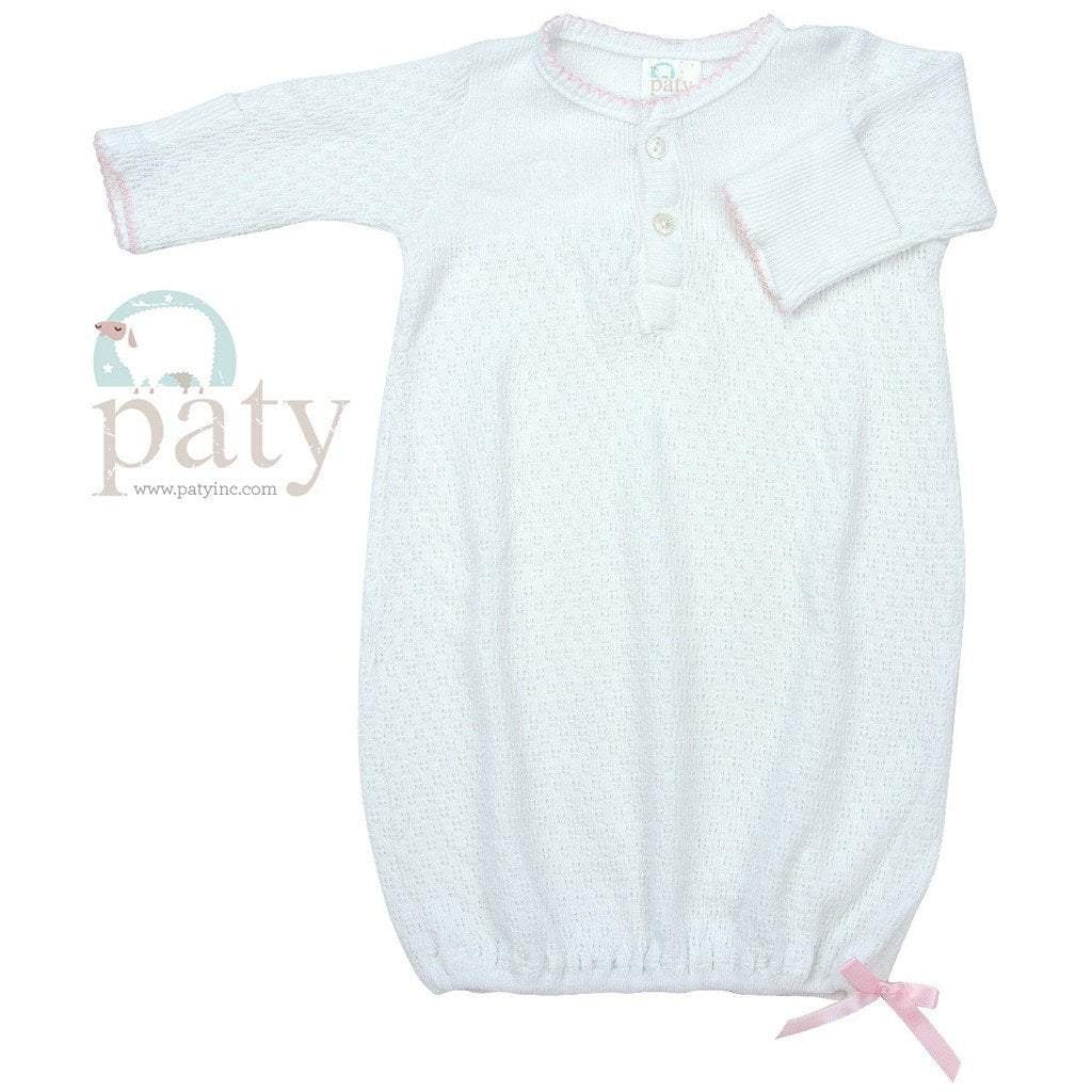Paty Infant Apparel PR / Pink Paty Long Sleeve Button Down Sack with Pink Trim
