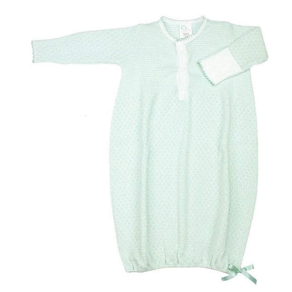 Paty Infant Apparel NB / Mint Paty Long Sleeve Solid Button Down Sack