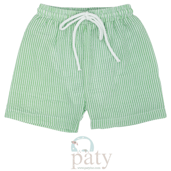 Paty Swimwear 2T / Green Paty Seersucker Boys Swim Trunks
