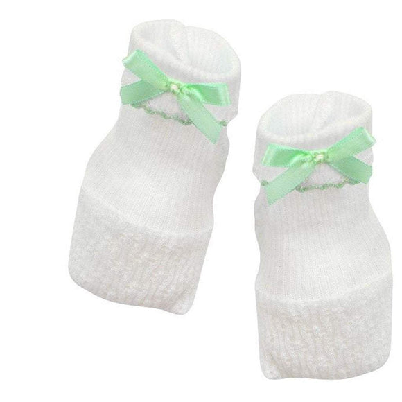 Paty Infant Apparel OS / Mint Paty White Booties with Mint Bow