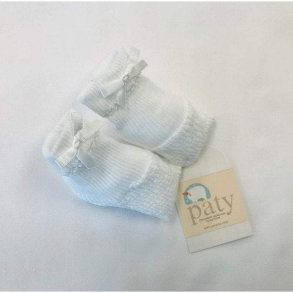 Paty Infant Apparel OS / White Paty White Booties with White Bow
