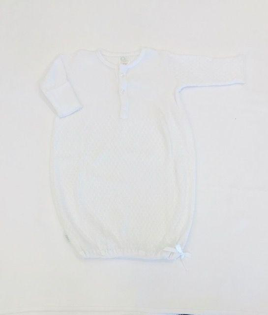 Paty PR / White Paty White Button Down Sack Infant Gown