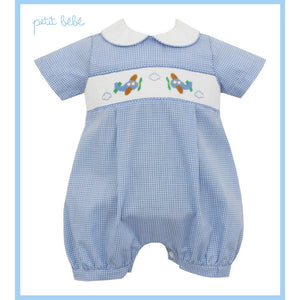 Petit Bebe Apparel 3 Mo / Blue Petit Bebe Airplanes Boy's Straight Bubble Blue Mini Check