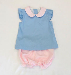 Petit Bebe Apparel 12 MO / Blue Petit Bebe Bloomer Set Light Blue with White Dots