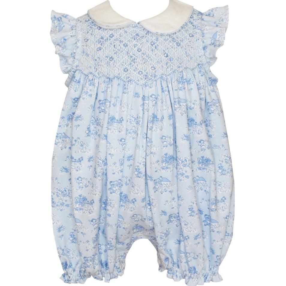 Petit Bebe Apparel 6 MO / Blue Petit Bebe Blue French Toile Knit Bubble
