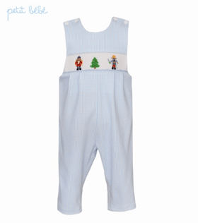 Petit Bebe Boys Apparel 3T Petit Bebe Boys Blue Mini Check Jon Jon Nutcracker Smocking