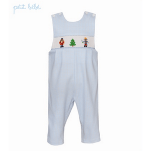 Petit Bebe Boys Apparel Petit Bebe Boys Blue Mini Check Jon Jon Nutcracker Smocking