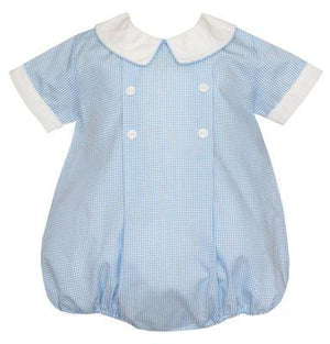 Petit Bebe Apparel 3 MO / Blue Petit Bebe Boys Bubble Light Blue Mini Check