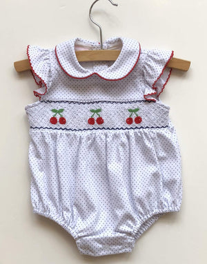Petit Bebe Apparel 12 MO / White and Navy Petit Bebe Cherries Smocked Bubble