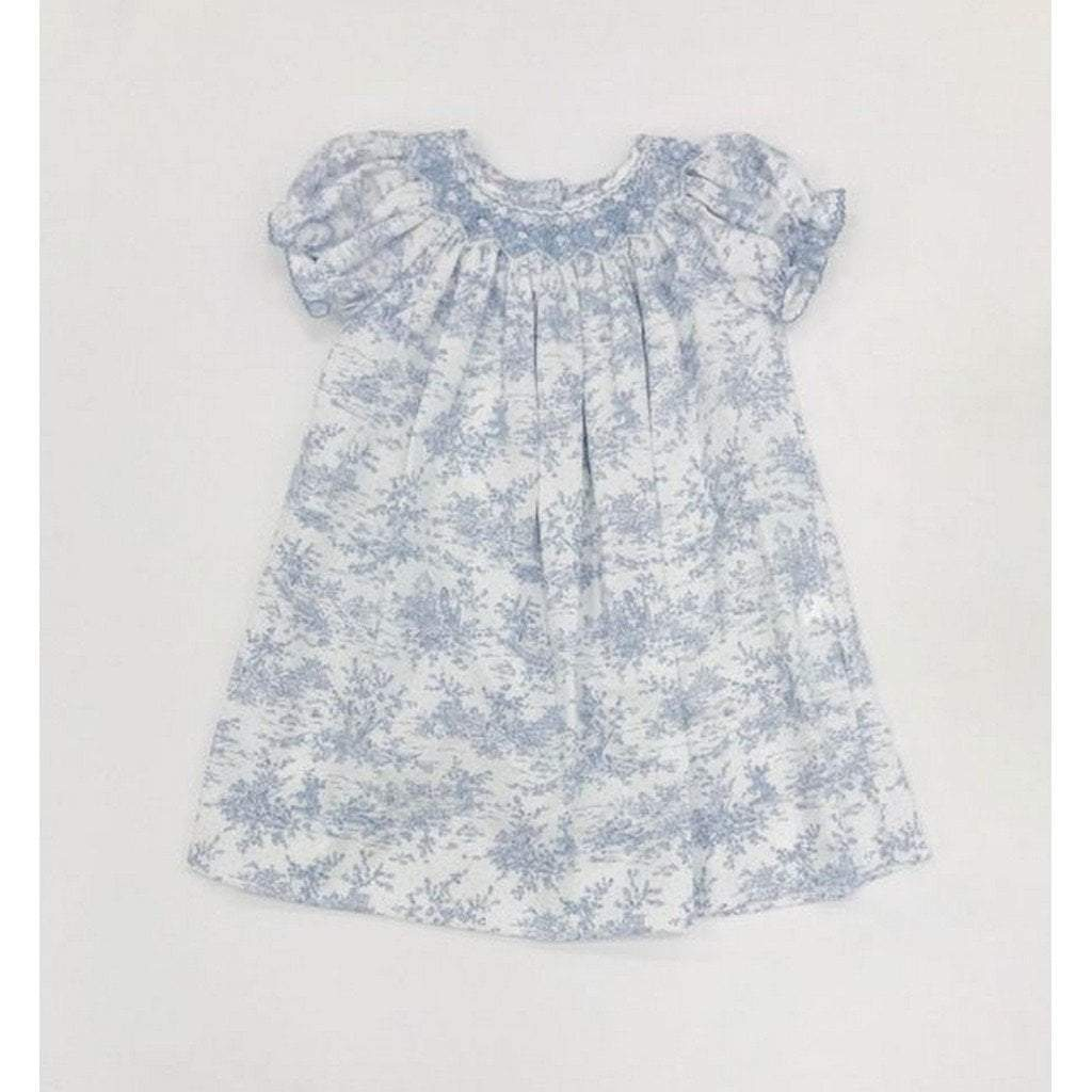 Petit Bebe Apparel 2T / Blue Petit Bebe Elizabeth Bishop Short Sleeve Blue Toile Dress