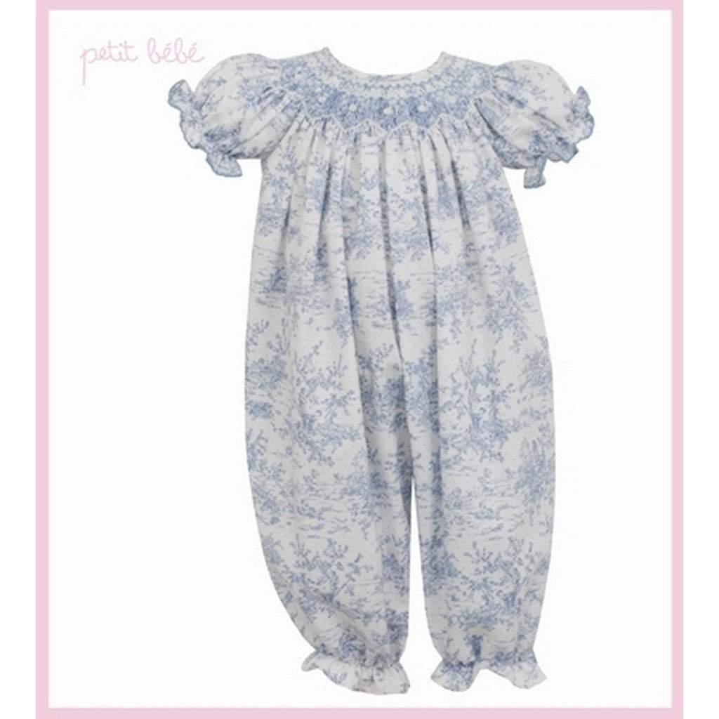 Petit Bebe Apparel 12 MO / Blue Petit Bebe Elizabeth Long Bishop Bubble Blue Toile
