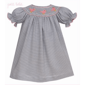 Petit Bebe Girls Apparel 4T / Gray Petit Bebe Girls Grey Stripe Knit Bishop Dress Baby Bird Smocking
