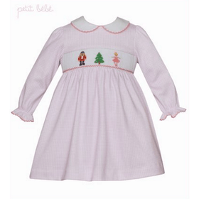 Petit Bebe Girls Apparel 4T / Pink Petit Bebe Girls Pink Mini Check Collared Dress with Nutcracker Smocking