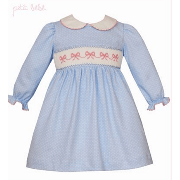 Petit Bebe Girls Apparel 4T / White Petit Bebe Long Sleeve Light Blue Knit Dress with Bow Smocking