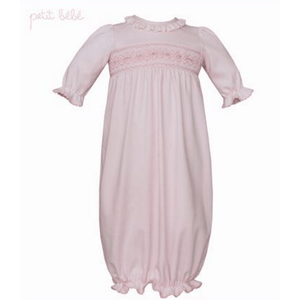 Petit Bebe Infant Apparel 0-3M / Pink Petit Bebe Newborn Girls Pink Smocked Sack Gown