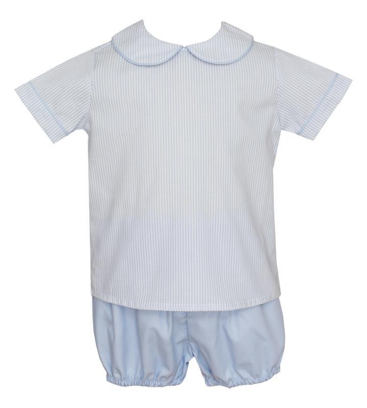 Petit Bebe Apparel 12 MO / Blue Petit Bebe Short Set Light Blue Stripe Blue Poplin