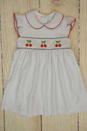 Petit Bebe Apparel 2T / White and Navy Petit Bebe Smocked Cherries Dress
