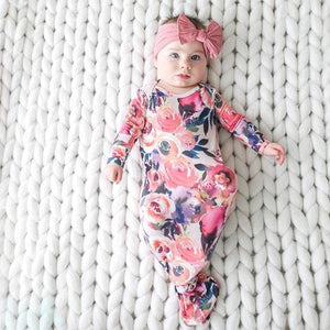 Posh Peanut Gifts & Apparel Posh Peanut Dusk Rose Knotted Gown Infant 0 3 Month