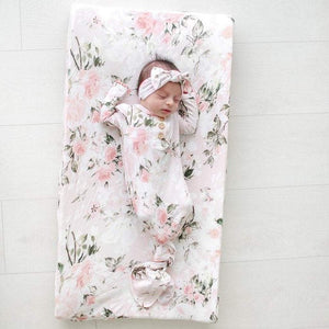Posh Peanut Gifts & Apparel Posh Peanut Vintage Pink Rose Button Knotted Gown Infant 0 to 3 Month