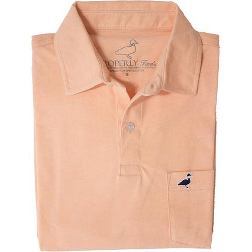 Properly Tied Boys Apparel 5 Properly Tied Lil Ducklings Melon Cotton Pocket Polo Shirt