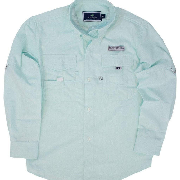 Properly Tied Boys Apparel 5 / Seafoam Properly Tied Lil Ducklings Performance Fishing Shirt Seafoam
