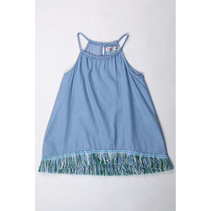 Ragdolls & Rockets Girls Apparel 8 Ragdolls & Rockets Girls Chambray Fringe Hem Tunic