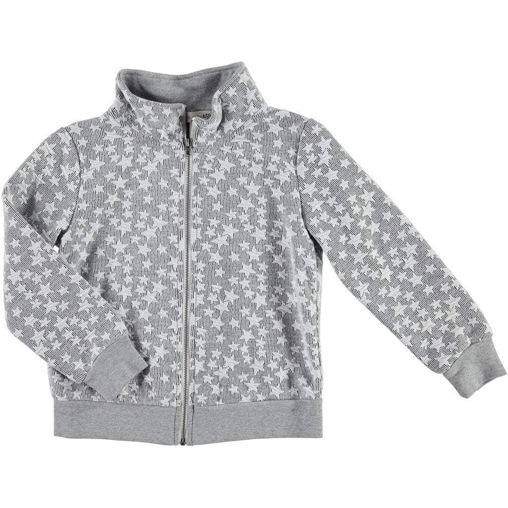 Ragdolls & Rockets Girls Apparel 8 / Grey Ragdolls & Rockets Girls Grey Star Print Zipup Jacket