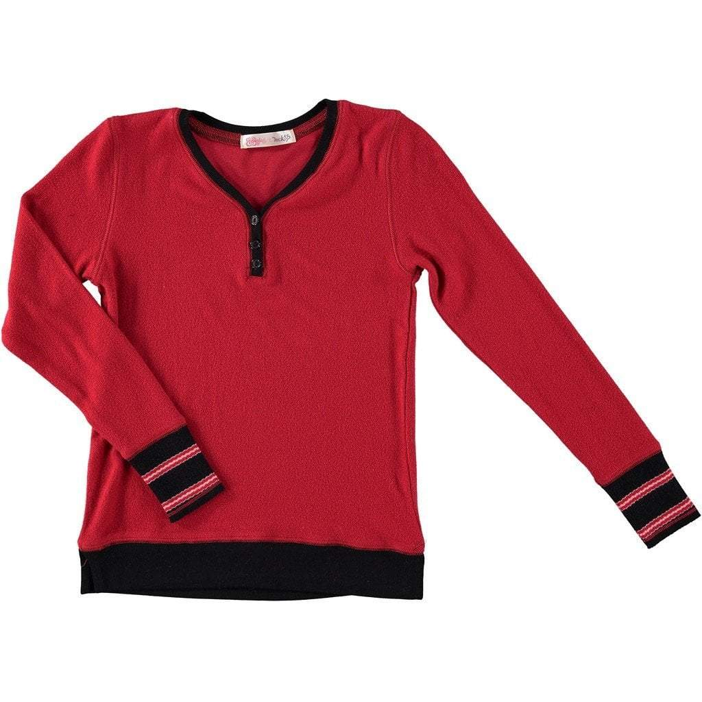 Ragdolls & Rockets Girls Apparel 7 / Red Ragdolls & Rockets Girls Red Lux Brushed Henley Top